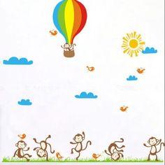 Monkey in hot air balloon - Kids room / Nursery Wall decal