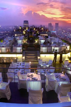Dine on the rooftop of Banyan Tree Bangkok for impressive sunset views