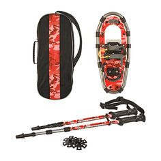 Yukon Charlie's Junior Series Snowshoe Kit for Kids: Red | $79.00 | Our Junior Series snowshoe kit for kids includes: 7″x16″ Jr. Series Aluminum Snowshoes Matching Poles Twist Lock and Standard Bag