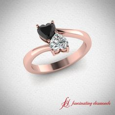 Heart Pair Ring || Black Diamond Side Stone Ring In 14K Rose Gold #heart shaped diamond ring