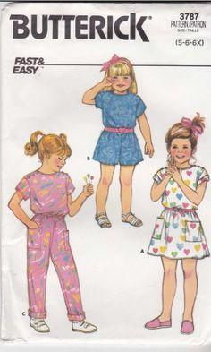 Butterick Sewing Pattern 3787 Girls Size 5-6-6X Easy Jumpsuit Romper Dress