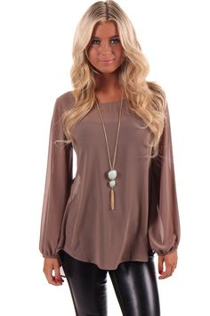 Lime Lush Boutique - Mocha Lace Back Chiffon Blouse, $42.99 (http://www.limelush.com/mocha-lace-back-chiffon-blouse/)