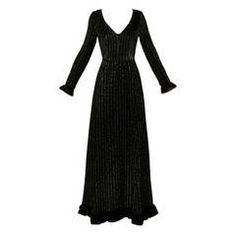 Givenchy 1970s Vintage Black Textured Black Silk + Velvet Gown