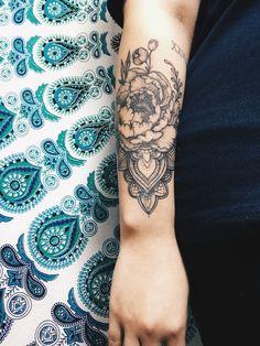 #peony #mandala #tattoo #girltattoo #flower #cute #black #and #white