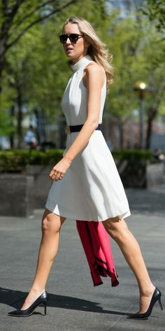 white sleeveless turtleneck dress + navy and pink blazer