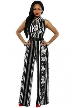Black Print Gold Belted Jumpsuit