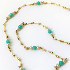 Vintage 14ct Gold Necklace with Jadeite Beads & Pearls