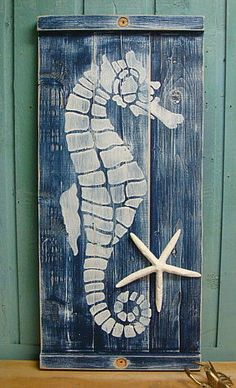 Seahorse Blue OR Red Wall Art Panel Wood Wooden Painting Beach House Decor - One Large Panel - Ready to Ship