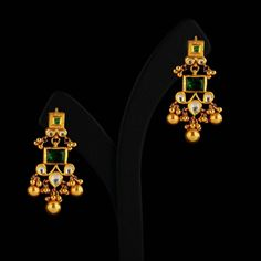 How To Clean Gold Jewelry With Baking Soda Gold Jhumka Earrings, Indian Jewelry Earrings, Jewelry Design Earrings, Gold Earrings Designs, Ruby Earrings, Antique Earrings, Ruby Bangles, Small Earrings, Temple Jewellery