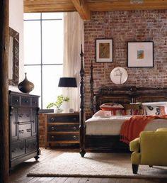 I really like the idea of a rustic single brick wall in the bedroom...ideas ideas