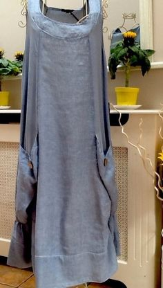 blue Linen Jersey Big Pocket Dress Lagenlook