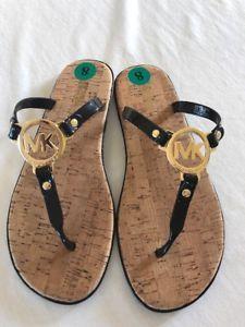 a5f6b1f318e1 NEW MICHAEL KORS MK WOMEN Black Jelly Cork Charm Sandal Flip Flop Thong  Size 8M