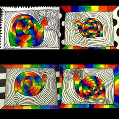 Anyone need some more spirals? Great rainbow and color theory review for end of the year. A way to test and get rid of dry markers too! Lots of possibilities for framing around! #rainboworder #colortheory #colorwheel #snailart #snailsofinstagram #colorfulsnail #snail #arted #artteacher #artclass