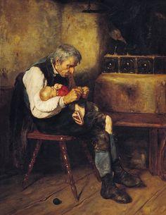 Nikolaos Gyzis [Greek painter Considered one of Greece's most important painters. Oil on canvas. Art And Illustration, Illustrations, Greek Paintings, Art Du Fil, Knit Art, Bullen, Greek Art, Art Graphique, Figure Painting