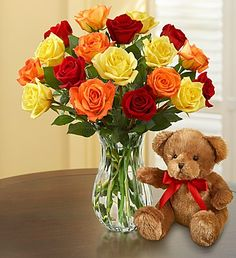 Red, orange and yellow #Rose Bouquet