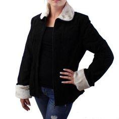 Purple Leopard Boutique - Black Suede Leather Jacket  Coat w/ Light Tan Faux Fur, $60.00 (http://www.purpleleopardboutique.com/juliano-celini-outerwear-black-suede-leather-jacket-coat-w-light-tan-faux-fur/)