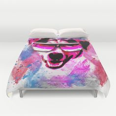 Jack Russell Grunge Watercolour Cool Dog Wall Art Duvet Cover by Moonlake Designs - $99.00