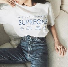 World famous Supreone letter printed T-shirt 40ea45b7bad3