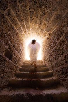 Jesus walks out of the tomb in a depiction of the resurrection of Jesus Christ. Happy Resurrection Sunday, Jesus Resurrection, Image Jesus, Walking Up Stairs, Pictures Of Jesus Christ, Jesus Christus, Biblical Art, He Is Risen, Jesus Is Risen