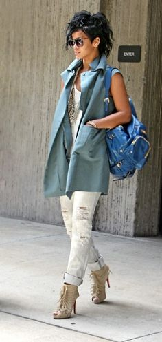Rihanna wearing Christian Louboutin Deva Suede Fringed Boots, Gucci Darwin Backpack in Bold Blue and J Brand 912 Low-Rise Pencil Leg Jeans in Zombie.