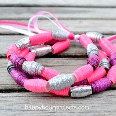 Brilliant! Duck Tape® Bead Bracelet Tutorial at www.happyhourprojects.com