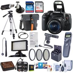 Canon EOS Rebel T6i DSLR Camera with EF-S 18-55mm f/3.5-5.6 IS STM Lens, - Bundle With 32/16GB SDHC Card, Camera Bag, Spare Battery, Tripod, Video Light, 58mm Filter Kit, Remote Shutter Trigger, More. Canon EOS Rebel T6i DSLR Camera Body - EF-S 18-55mm f/3.5-5.6 IS STM Lens - LP-E17 Battery Pack - LC-E17 Battery Charger - Eyecup Ef - EW-300D Wide Strap - IFC-130U Interface Cable - EOS Digital Solution Disk - Canon 1 Year Warranty - Bundle Items: - 32/16GB SDHC Card - Camera Bag - Spare...