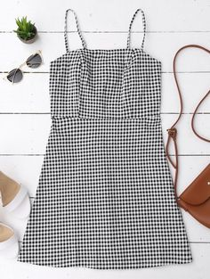 SHARE & Get it FREE | Back Zipper Checked Slip Mini Dress - Checked SFor Fashion Lovers only:80,000+ Items • New Arrivals Daily Join Zaful: Get YOUR $50 NOW!