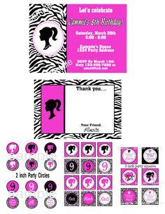 Zebra Barbie Party Printable Package. $25.00, via Etsy.