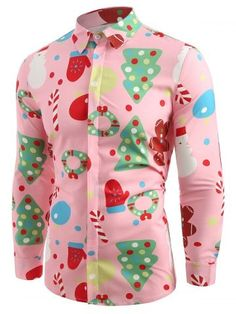 Christmas Men/'S Theme Button Up Xmas Casual Shirts Slim Long Sleeve Dress Tops