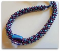 Furnace Glass Focal Bead Necklace (Kumihimo)