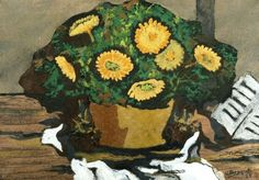 Georges Braque - Corbeille de Fleurs, 1925. Oil and sand on canvas, 15 by 21 ¾ in. (38.1 by 55.2 cm).