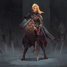 ArtStation - Lady of the sword, Taras Susak Dnd Characters, Fantasy Characters, Female Characters, Female Character Concept, Character Art, Character Ideas, Fantasy Inspiration, Character Design Inspiration, Rpg Horror