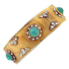 BUCCELLATI Gold Diamond Emerald Rigato Bracelet