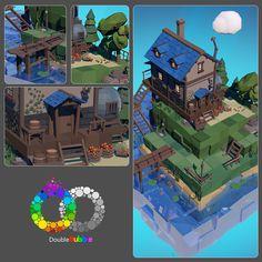 ArtStation - Home-full, Aleksandr Kalashnikov Leap Motion, Low Poly 3d, Game Design, Island, Artwork, Projects, Angel, Building, Log Projects