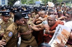 Sri Lanka. In Colombo, a group of activists against the UN confronted police during the visit of Navi Pillay, the High Commissioner for Human Rights, to conflict zones during the Civil War (1983-2009).