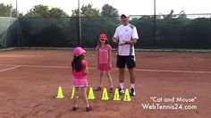 Cat and Mouse - fun on-court game for kids Sports Games For Kids, Activities For Kids, Tennis Scores, Agility Workouts, Tennis Camp, Tennis Videos, Tennis Lessons, Gym Games, Day Camp