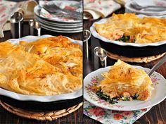 Вкусная пауза - Рыбный пирог с семгой и шпинатом в тесте фило.