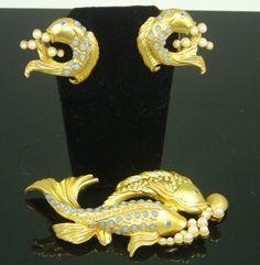 Elizabeth Taylor Sea Shimmer Fish Brooch and Earring Set