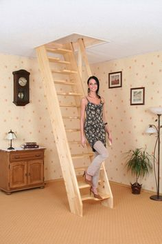 Image of: Homemade Collapsible Stairs Attic Bedroom Small, Attic Loft, Loft Room, Attic Rooms, Space Saver Staircase, Small Staircase, Cottage Stairs, Tiny House Stairs, Garage Stairs