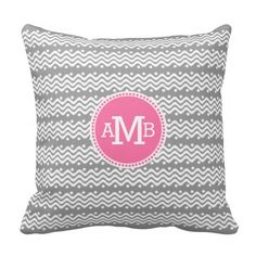 Tribal Wave Pattern Pink with Monogram Throw Pillows