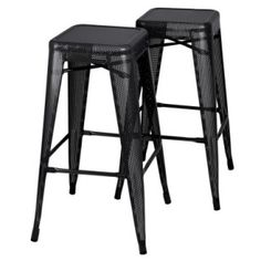 Set of 2 Tolix Replica Bar Stools in black! On sale now at Contemporary Pieces.