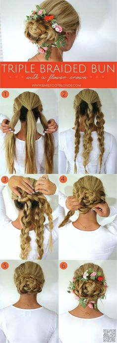 2. #Triple Braided Bun - 43 #Fancy Braided #Hairstyle Ideas from #Pinterest ... → Hair #French