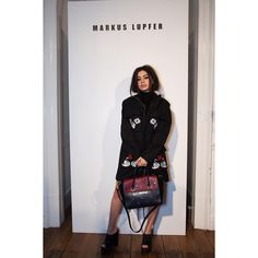 """""""@charli_xcx attends our Autumn/Winter 2016 presentation during London Fashion Week. Charli wears a coat and bag from #markuslupfer Pre Fall 2016 #LFW…"""""""