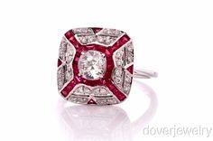 Diamond Ruby 18K Gold Engagement Ring!!!!