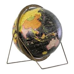 Mid-Century Vintage World Globe ($650) ❤ liked on Polyvore featuring home, home decor, decor, decorative objects and map globe