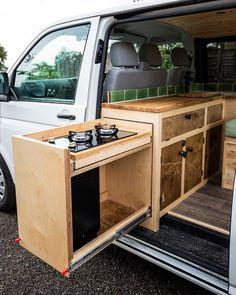Build A Camper Van, Bus Camper, Camper Trailers, Camper Van Kitchen, Minivan Camper Conversion, Diy Van Conversions, Van Conversion Interior, Van Dwelling, Minivan Camping