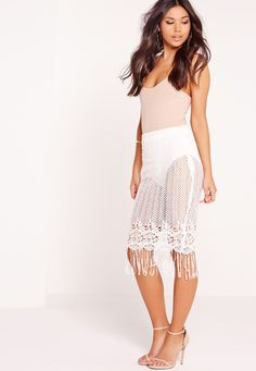 Missguided - Lace Bobble Hem White Pencil Skirt White