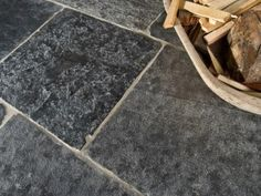 Black Flag Limestone with under floor heating, this dark flag limestone would work brilliantly in a Victorian style bathroom. Limestone Paving, Limestone Flooring, Victorian Style Bathroom, Engineered Oak Flooring, Patio Slabs, Concrete Pad, Flagstone, Porcelain Tile, Victorian Fashion