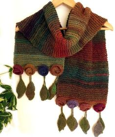 """Knit scarf wrap with roses and leaves wool """"Autumnal Wild Flowers"""" Shawl Crochet, Knitted Shawls, Crochet Scarves, Knit Crochet, Loom Knitting, Hand Knitting, Knitting Patterns, Crochet Patterns, Knitting Projects"""
