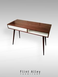 Mid Century Walnut Desk With Push to Open Drawer And Storage Cubby. USD) by FlintAlleyFurniture Mid Century Modern Design, Mid Century Modern Furniture, Mid Century Desk, Cubbies, Woodworking Shop, Dining Bench, Mid-century Modern, Solid Wood, Storage